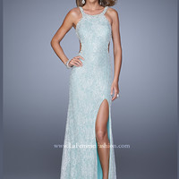 High Neck With Open Back Beaded Lace La Femme Prom Dress 20933