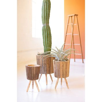 Set Of Three Round Recycled Wooden Planters With Legs