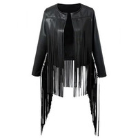 Fringed  Faux Leather Asymmetric Jacket