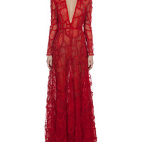 Valentino Long-Sleeve Deep-V Lace Patchwork Gown