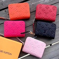 LV Embossed Letters Women's Mini Short Wallet Card Holder