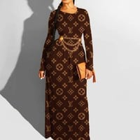Louis Vuitton LV Newest Hot Sale Women Print Long Sleeve Round Collar Dress