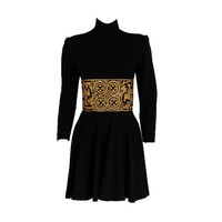 1990's Bob Mackie Beaded Graphic Black Gold Knit Turtleneck Flaired Mini Dress