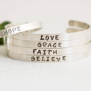 Sterling Silver Quote Bracelet, Sterling Silver Personalized Bracelet, Inspirational Quote Jewelry, Faith Hope Love Jewelry Cuff,  Believe