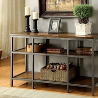 Grafton collection transitional style dark oak finish wood and metal frame console entry sofa table