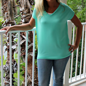 Piko: Knitted Blouse, Mint