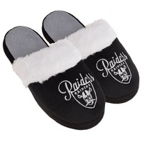 Oakland Raiders Womens Colorblock Fur Slide Slippers NFL New Style