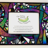 """Mosaic Picture Frame  5"""" x 7"""" Picture Size Iridescent Glass+Silver Mirror Handmade Stained Glass Mosaic Design Hangs Vertical/Horizontal"""