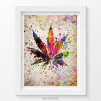 Marijuana Leaf Poster, Marijuana Art, Marijuana Print, Marijuana Decor, Home Decor, Gift Idea