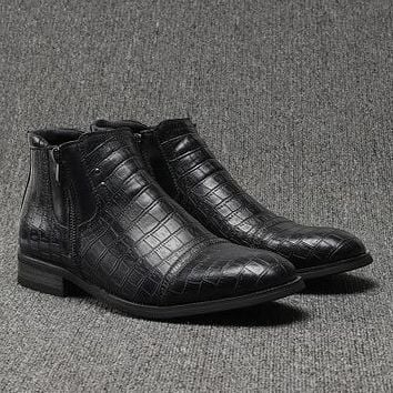 Men Genuine Leather Boots New Black Shoes