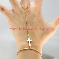 bracelet -- cross bracelet, golden cross ring and bracelet, SALE