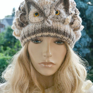 Crocheted knitted beige owl  cap hat beanie   great horned owl ;o)