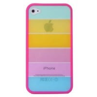 Rainbow Hard Cover Case For iPhone 4 4S Rosered Side
