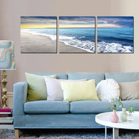 3 Panels Wall Art Pictures Beach Sandy Sea Wave Seascape Oil Painting On Canvas For Room Decor Modern Living Room Decoration New