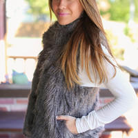 Feeling Foxy Fur Vest - Grey
