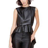 Faux Leather Leather Dipped  Peplum Hem Tank Top