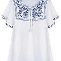 Embroidered Floral Blouse - OASAP.com