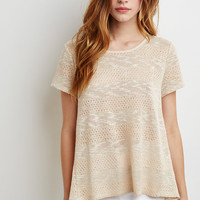 Crochet-Paneled Loose Knit Top