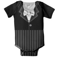 Baby Tuxedo Bodysuit, Personalized Boy Bow Tie Ringbearer Snapsuit, Onepiece Clothing