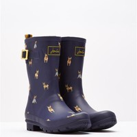 Navy Dogs Mollywelly Mid Height Rain Boot Wellies | Joules US