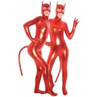 Red Devil PVC Catsuit with Mask and Tail - Animal Zentai Suits - Catsuits  Zentai