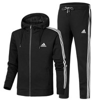 ADIDAS 2018 autumn and winter new plus velvet thickening casual hooded jacket sweater two-piece Black