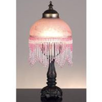 6 Inch Fringed Globe Pink & Base Table Lamps