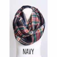 Plaid Infinity Scarf in Navy