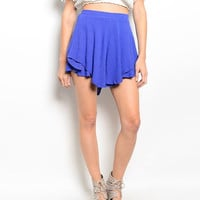 High Waist Ruffled Shorts in Blue