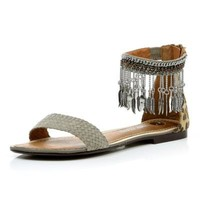 grey embellished cuff sandals - sandals - shoes / boots - women - River Island