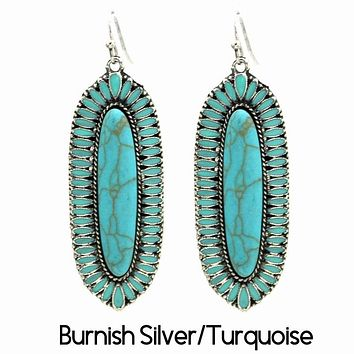 Squash Blossom Earring Silver/Turquoise