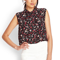 Delicate Floral Cropped Shirt