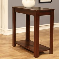 Cherry finish wood rectangular chair side end table with lower shelf