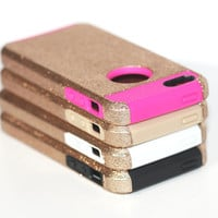 Gold Glitter iPhone 5c Case - Tough iPhone Case, Protective Defender Case like Otterbox - Metallic Gold