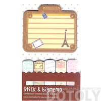 Large Eiffel Tower Suitcase Shaped Travel Themed Memo Pad Post-it Index Sticky Tabs   Cute Affordable Stationery