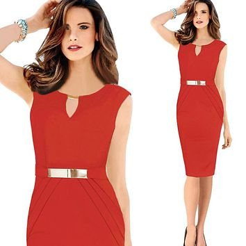 Elegant Casual Waist Knee-Length Sequined Bodycon Pencil Party Dress