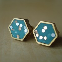 Turquoise Confetti Hexagon Earrings | BRIKA - A Well-Crafted Life