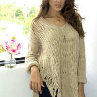SHREDDED V NECK SWEATER WITH SIDE SLITS - FINAL SALE