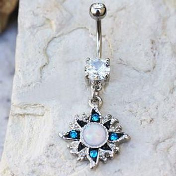 316L Stainless Steel White Opal Sunburst Navel Ring