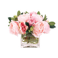 Some of you have to get in on this: 12in Peonies in a Glass Cube