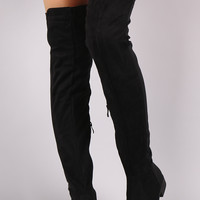 Suede Elastane Fit Over the Knee Boots