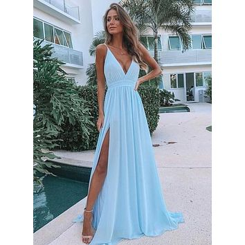 Sky Blue Sexy Prom Dress Low Cut, Bridesmaid Dresses long, Evening Dress, Formal Dress, Ball Gown CD0099