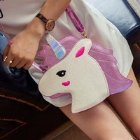 Fashion brand unique design laser cute unicorn diamond shape envelope package Clutch handbags wallet purse