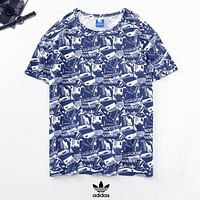 Adidas New fashion letter leaf print couple top t-shirt Blue