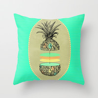 Sliced pineapple Throw Pillow by AmDuf