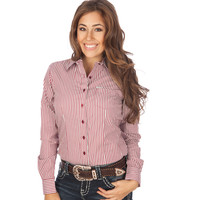 Women's Cruel Girl Wine and White Stripe Buttondown Shirt