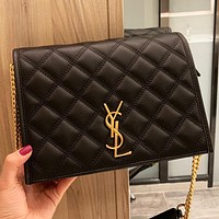 Hipgirls YSL New fashion leather shopping leisure shoulder bag crossbody bag Black
