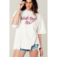 Oversized white t-shirt with text message