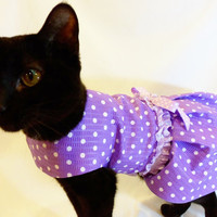 CoolCats Lavender and White Polka Dot Cat Harness Dress