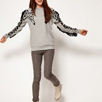 ASOS Sweatshirt with Giraffe and Fringe Sleeves at asos.com
